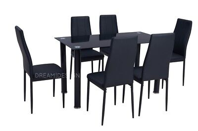 Black or Grey Glass Dining Table Set with 6 Black or Grey Faux Leather Chairs