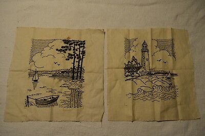 Antique Set of Black & White Hand Made Embroidered Pictures Lighthouse & Shore