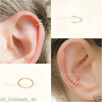 Silver Hoop Sleeper Earring 6 8 10mm Cartilage Piercing Ring Helix Rook Earring
