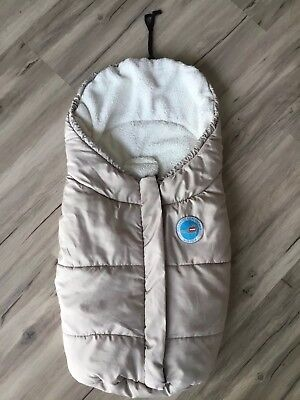 Fillikid Plüsch Fleece Fußsack Decke Winter f Babyschale Maxi Cosi etc beige TOP
