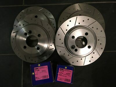 Mini R53 Cooper S Grooved Brake Discs & EBC UltiMAX Pads, Fnt + Rear
