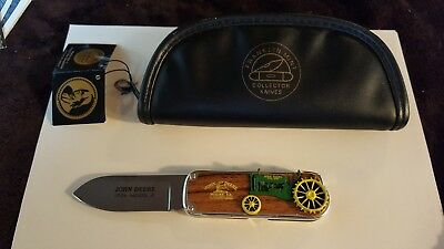 Franklin Mint John Deere 1934 Model A Tractor Folding Knife w/ Leather Case