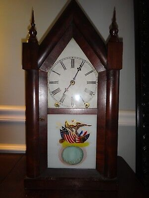 Antique New Haven Gothic Mantle Clock American Eagle Flag Drums Reverse Painted