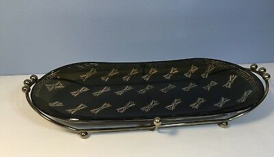 Art Deco Black Gold Bowknot Glass Serving Tray with Metal Stand