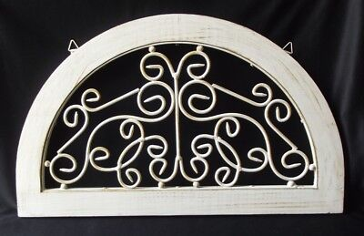 White Architectural Salvage Wood & Wrought Iron Topper Pediment Accent 20""