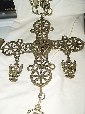 "Antique Brass BYZANTINE CROSS 11""x11"" - Hanging Candelabra 26 Inch Total Length"
