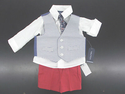 Infant Boys Nautica $50 4pc Red & Blue Vest Suit w/ Shorts Size 3/6m - 24m