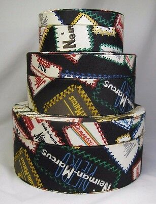 Rare Vintage Neiman-Marcus Advertising Fabric Covered Round Nesting Boxes