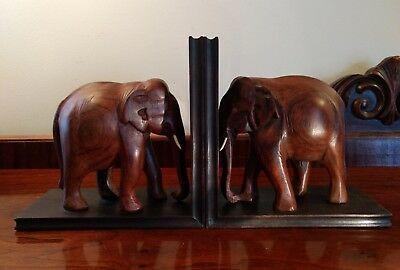 Elephant Bookends Vintage Hand Carved Rosewood Figural Jungle Animal Book Ends
