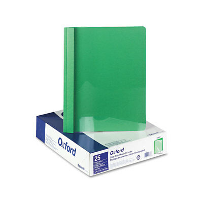 Clear Front Report Cover, 3 Fasteners, Letter, 1/2'' Capacity, Green, 25/Box