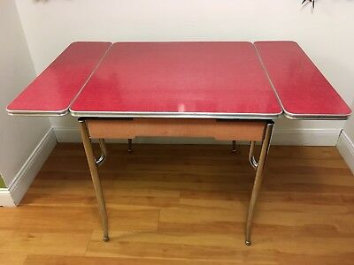 VTG Red & Chrome Formica Sliding Expandable Farmhouse Kitchen Table Mid Century