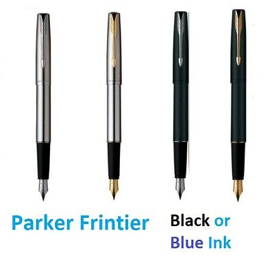 Parker Frontier Stainless Steel & Matt Black In Gold & Chrome Trim Fountain Pen