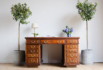 Antique Victorian 19C Oak Partners Pedestal Desk  with 11 Drawers by Hobbs & Co