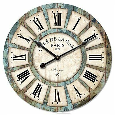 Eruner 12-inch Vintage Wood Wall Clock - France Paris Colourful French Country