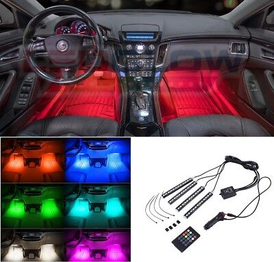 NEW! LEDGLOW 4pc 7 COLOR 12LED INTERIOR LIGHT KIT for ALL CARS ACCENT NEON GLOW