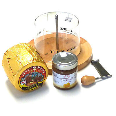 Set Cheese Slicer Tete de Moine Reserve Aop Whole Loaf with Quince Mustard Hood