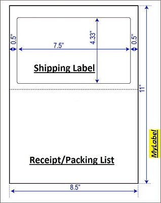 500 Half Sheet  Shipping Label  w/ receipt