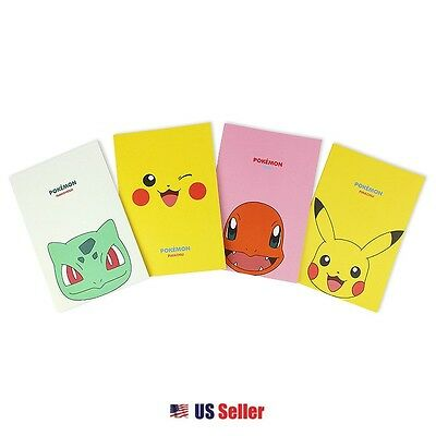 Nintendo Pokemon A5 Lined Notebook Note Pad Set of 4: Type A