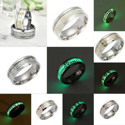 New 8MM Night Light Luminous Stainless Steel Men's Tattoo Band Ring Size 7-11
