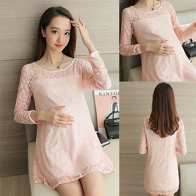 New Spring Maternity Clothes Korean Lace Tunic Long Sleeve Loose Pregnancy Dress