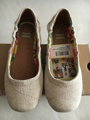 Toms Ballet Flat Natural Metallic slip-on Shoes youth Girl US Size 12,13,1,3,4