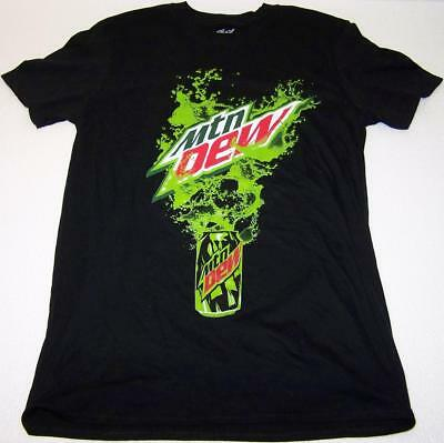 Embossed! MTN Mountain DEW Splash Outta Can MEDIUM Black Tee shirt Pepsi Co.