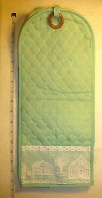 BLENDER COVER Bright MINT Green Quilted Fabric + White Lace Excellent Condition