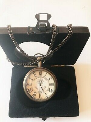 Rich And Magnificent Victoria London 1875 With Hand Chain Gift Pocket Watch Usa Seller!!
