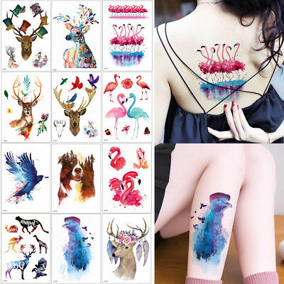 Watercolor Animal Temporary Tattoo Fox Wolf Decal Body Sticker Water Transfer 3D