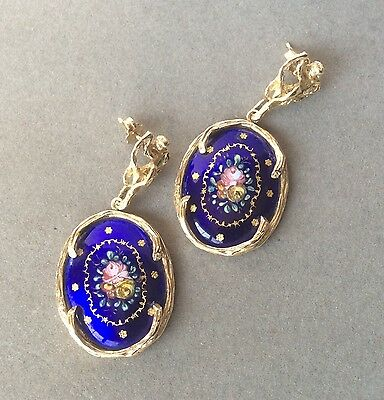 Amazing Vintage 14k Yellow Gold Art Deco French Blue Enamel Dangle Earrings