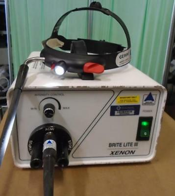 APPLIED FIBEROPTICS BRITE LITE III Xenon 300 LIGHT SOURCE w headlight headset