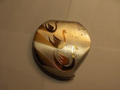 Vintage 1940's Elgin American Gold Swans On Silver Compact Mirror Clam Shell