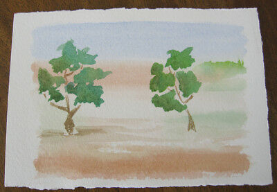 HAND painted WATERCOLOUR artist PICTURE card TREES blue BROWNs 12.5 x 9 cm GREEN