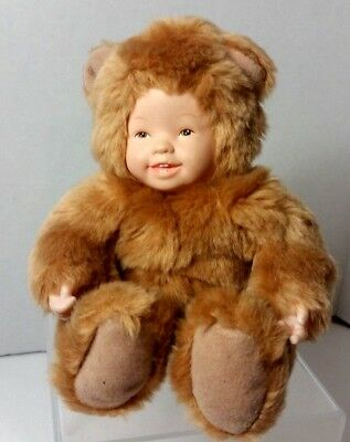 Anne Geddes Baby Golden Teddy Bear Doll Plush 8 Inch