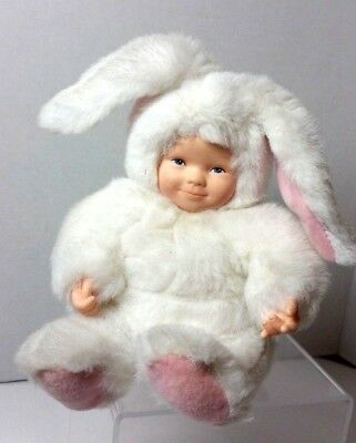 Anne Geddes White Easter Bunny Rabbit Baby Doll Plush 8 In