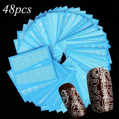 48 Sheets Water Transfer Decals Manicure Decor White Lace Nail Art Sticker
