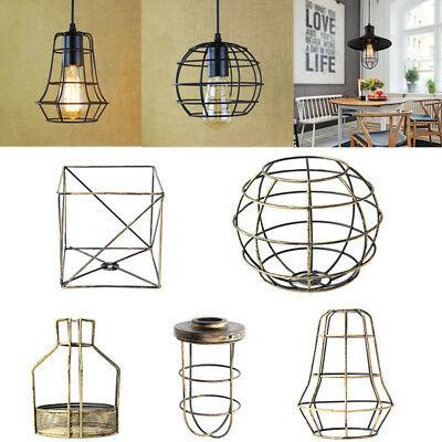 Vintage Iron Hanging Ceiling Pendant Cage Lampshade Light Shade Home Cafe DIY AU