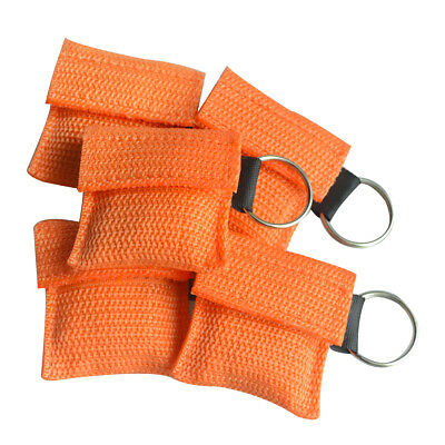 50Pcs One way Valve CPR Masks Rescue First Aid Training Orange CPR Face Shields