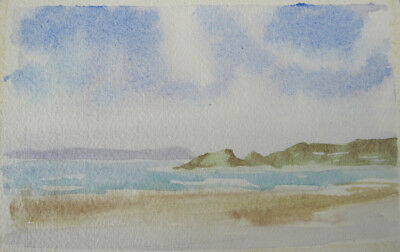 WATERCOLOUR hand PAINTED pastel HEADland card PAINTING hobby CRAFT blues BROWNS
