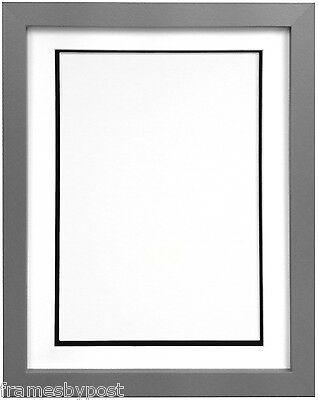 Silver Photo Picture Frames With Quality Black White & Ivory Double Mounts H7