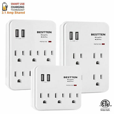 Multi Outlet Plug Surge Protector With 2 USB Ports Wall Charger Adapter Tap
