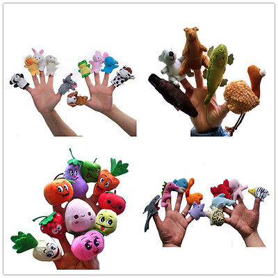 41 pcs Finger Puppets sea zoo Animal Family fruit story tell Kid Educational toy
