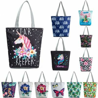 New Women's Unicorn Canvas Tote Shoulder Large Shopping Bag Beach School Handbag