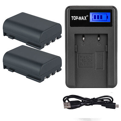 2x Battery+Charger for NB-2L NB-2LH Canon EOS 350D 400D G7 G9 ZR100 ZR200 ZR300