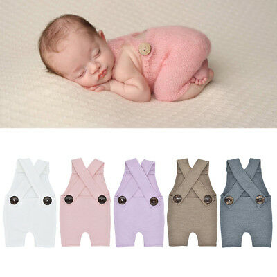 Photography Prop Button Overalls Pants  Photo Shoot Romper Outfit Newborn Baby