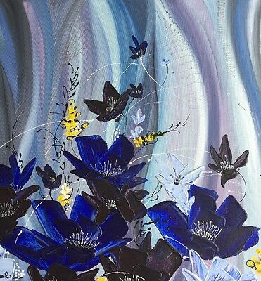 Original Oil And Acrylic Painting, Direct From The Artist, Blue Poppies Mood