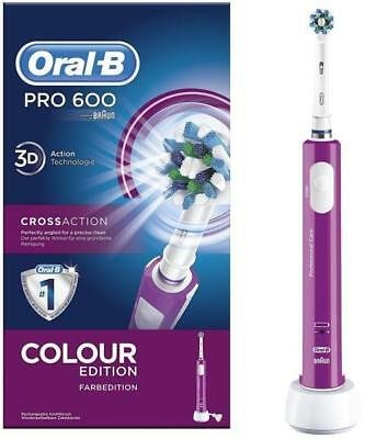 Braun Oral-B Pro 600 3D Electric Toothbrush Crossaction Colour Edition Pink e86a0cecf3f64