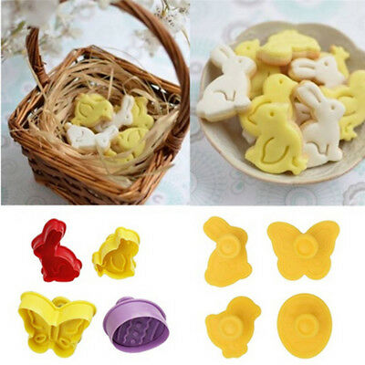 4 PCS DIY Plastic Easter Bunny Cookie Cutter Plunger Stamp Biscuit Baking Mould