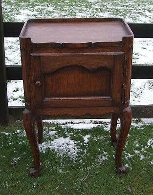 Louis Xv Style Vintage French Carved Dark Oak Single Bedside Cabinet - (Con827)