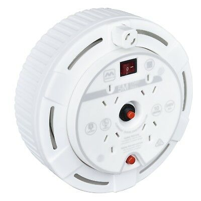 Masterplug EXTENSION LEAD REEL 5m 4-Socket Thermal Cutout, On/Off Switch WHITE
